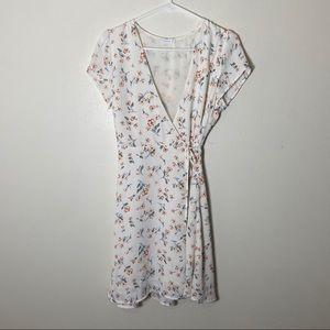 Lush Dresses - Lush white Floral Wrap Mini Dress